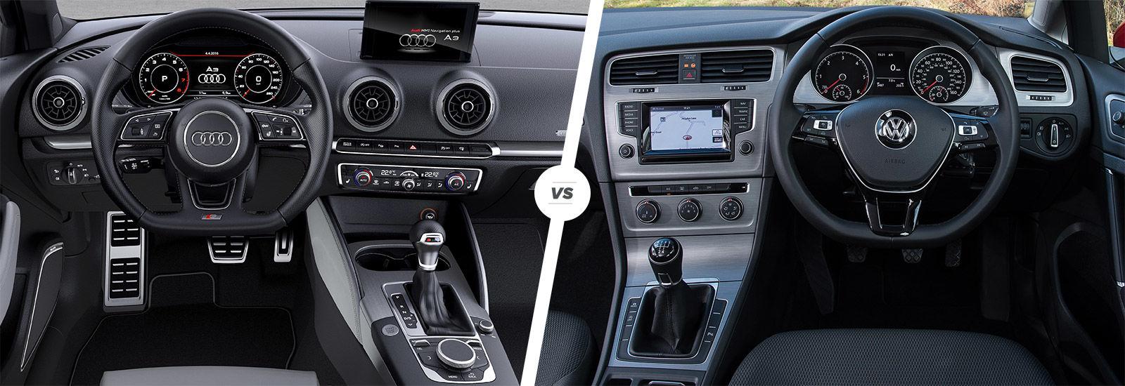 Audi A3 vs VW Golf interior