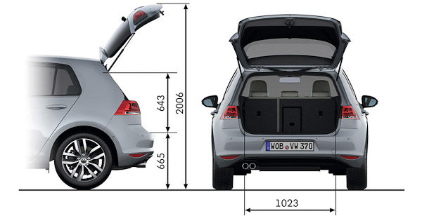 vw golf trunk dimensions volkswagen. Black Bedroom Furniture Sets. Home Design Ideas